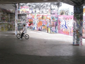 The bike and Skateboard Arena Covered in Urban Art